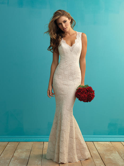 Allure - Embellieshed Lace V-Neck Sheath