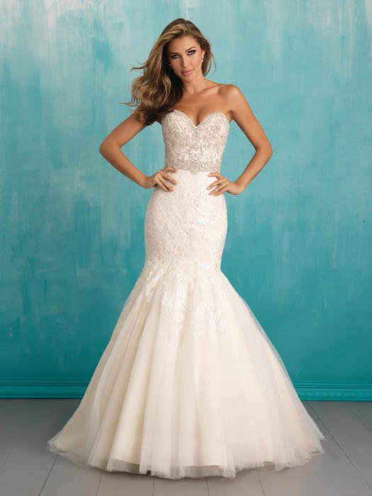 Allure - N/O Strapless Beaded Tulle Trumpet