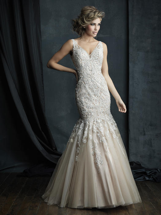 Allure - Strapless Embroidered Tulle V-Neck