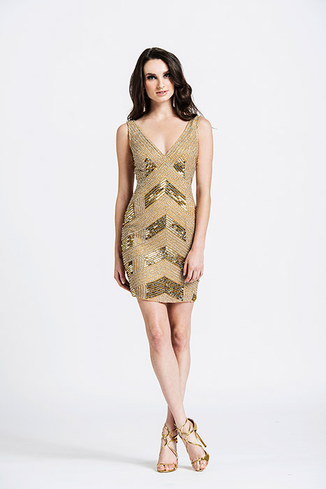 ASHLEYlauren CollectionFully Beaded Cocktail Dress