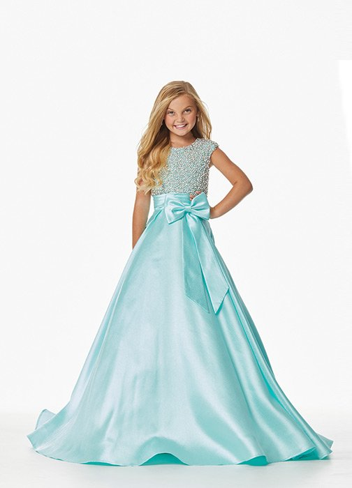 Kids Ball Gown with Beaded Bustier and Bow