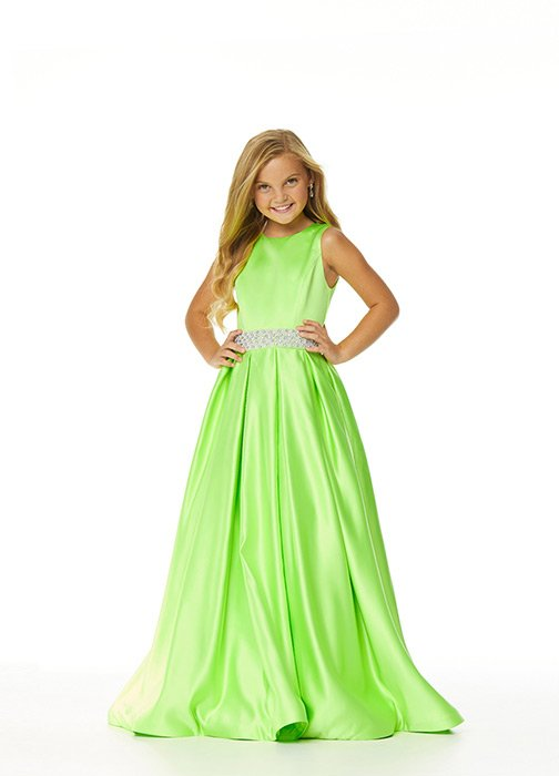 Kids Satin Ball Gown with Beaded Belt