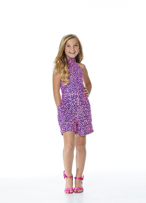 Kids Halter Fully Beaded Romper