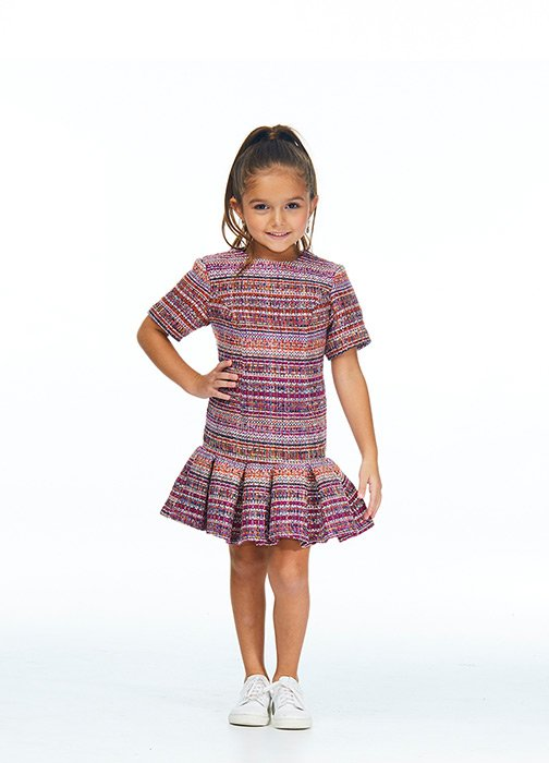 Kids Tweed Cocktail Dress with Ruffles