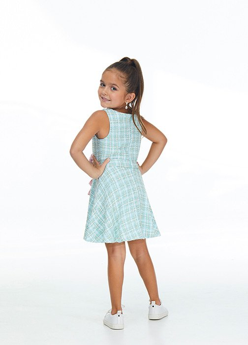 Kids Multi Colored Tweed Cocktail Dress