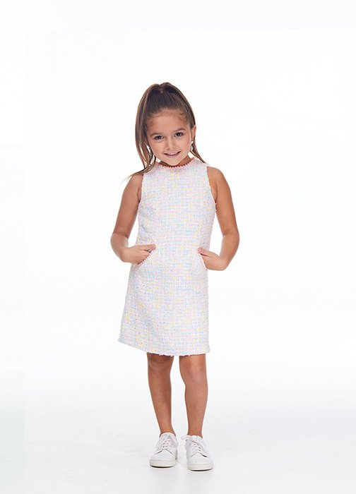Kids Tweed Cocktail Dress with Pearls
