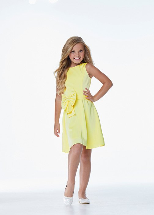 Kids Crepe Cocktail Dress with Bow