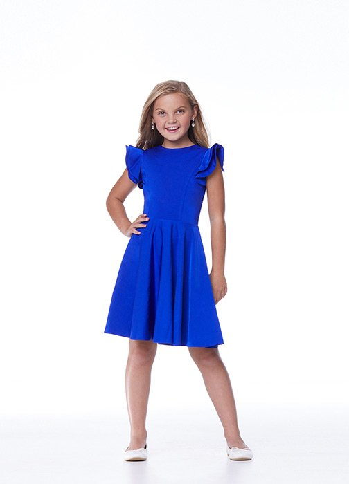 Kids Ruffle Shoulder Cocktail Dress