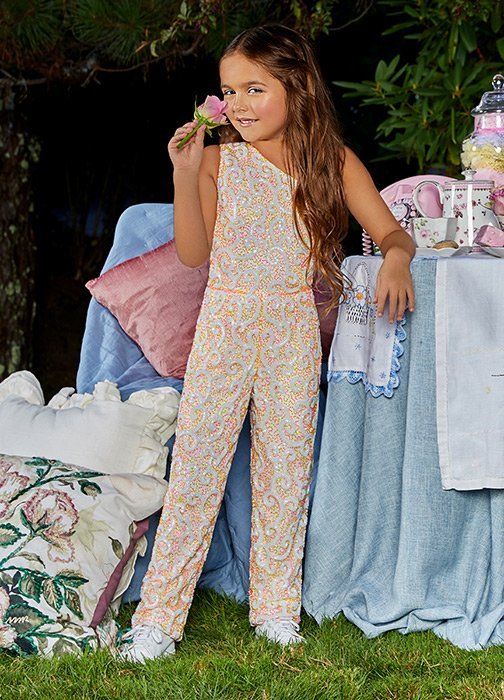 ASHLEYlauren KIDS Fun Fashion, Runway One Shoulder Beaded Jumpsuit For Girls