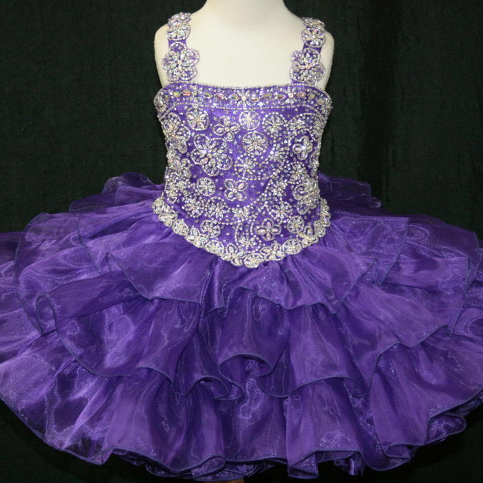 Girls Glitz Pageant Dresses-Short Skirt