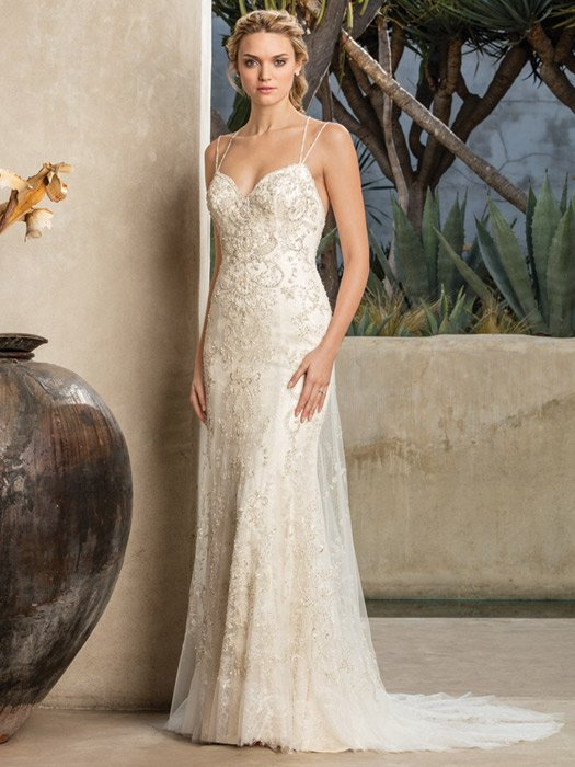 Casablanca - Embellished Double Strap Sheath Gown
