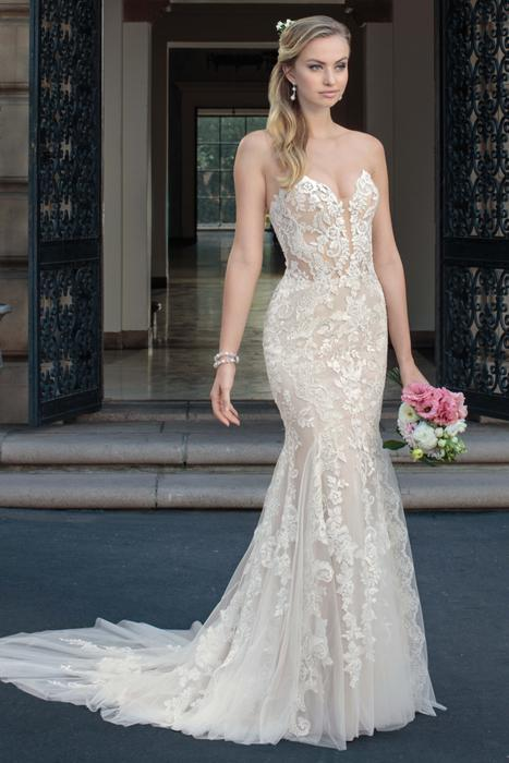 Casablanca - Strapless Embroidered Fit & Flare Illusion Gown