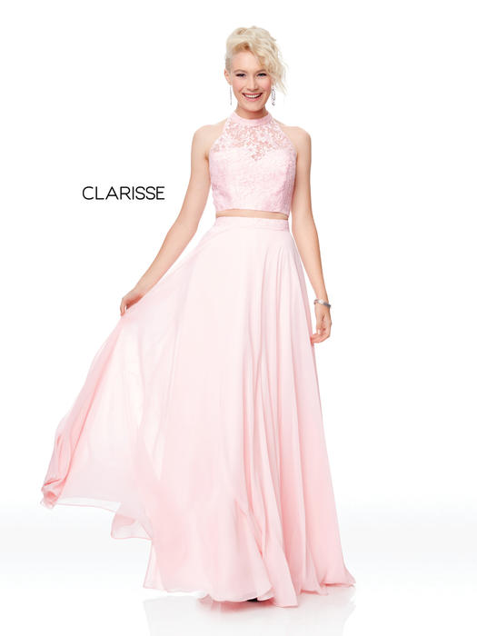 Clarisse - Lace Two-Piece Illusion Gown