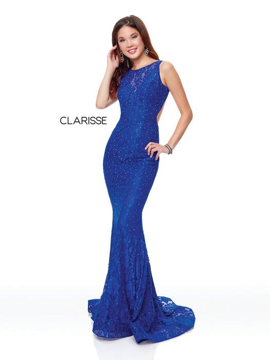 Clarisse - Lace Beaded Gown High Neckline