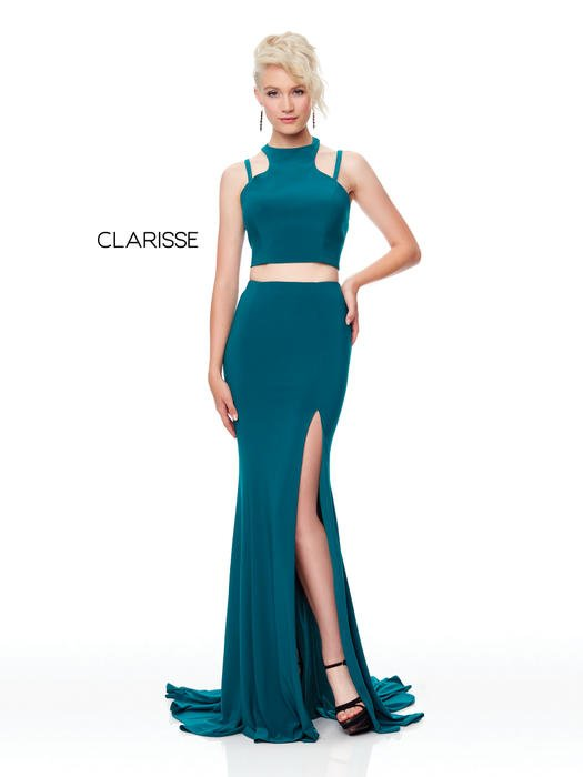 Clarisse - Two PIece Jersey Gown Side Slit