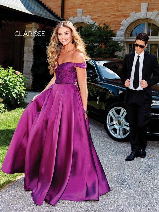 Clarisse - Satin Ball Gown Off The Shoulder Lace Bodice