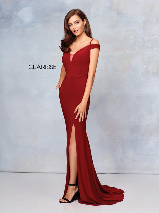 Clarisse - Jersey Gown Cold Shoulder V-Neckline Side Slit
