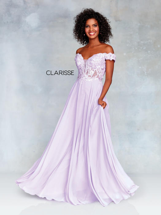 Clarisse - Off The Shoulder Lace Bodice Chiffon Gown