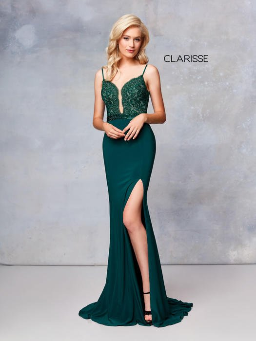 Clarisse - Embroidered Bodice Jersey Gown Side Slit
