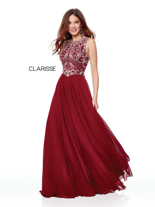 Clarisse - Beaded High Neck Bodice Chiffon Gown