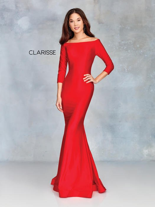 Clarisse - Long Sleeve Satin Gown