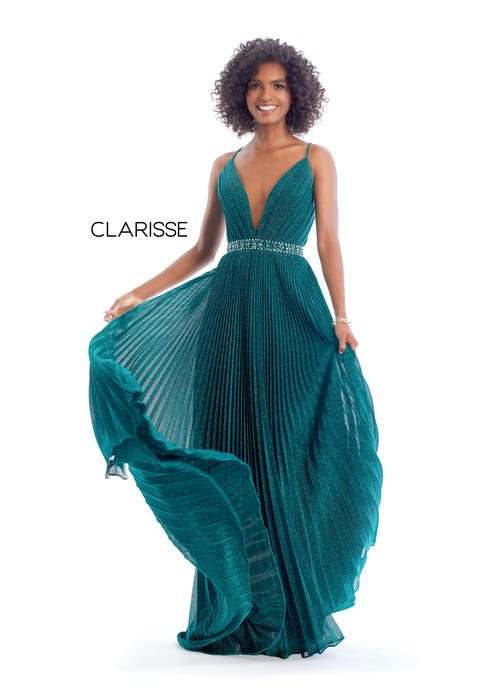 Clarisse - Metallic Pleated Beaded Waist Gown