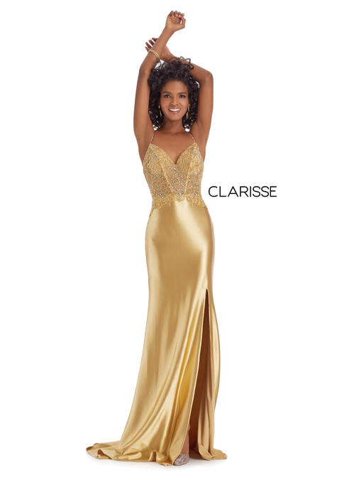 Clarisse - Satin Beaded Bodice Open Back Gown