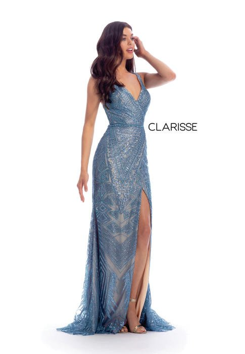 Clarisse - Mesh Beaded Crack Ice Gown Open Back