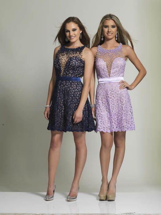 Dave and Johnny - Beaded Lace Sweetheart Illusion Dress