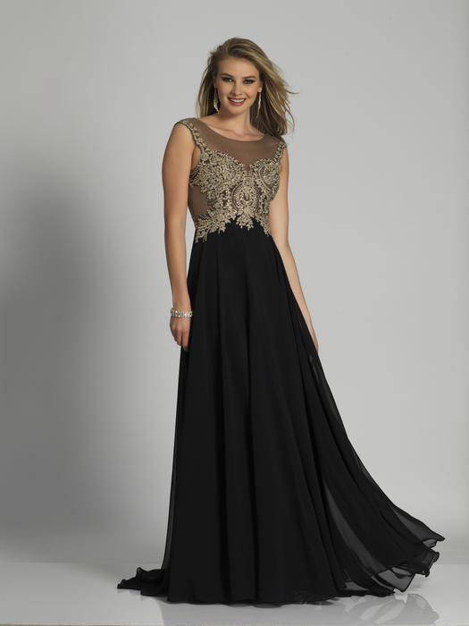 Dave and Johnny - Embroidered Chiffon Illusion Gown