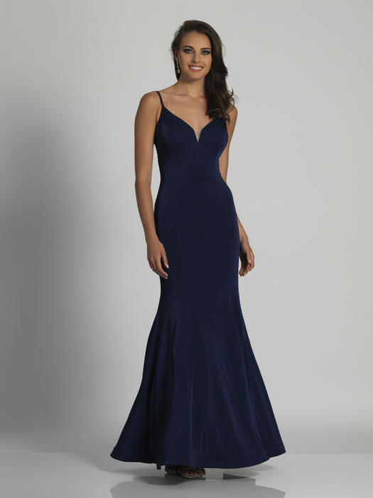 Dave and Johnny - Jersey Spaghetti Strap Fit & Flare Gown