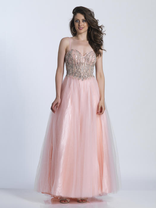 Dave and Johnny - Beaded Tulle Spaghetti Strap Gown