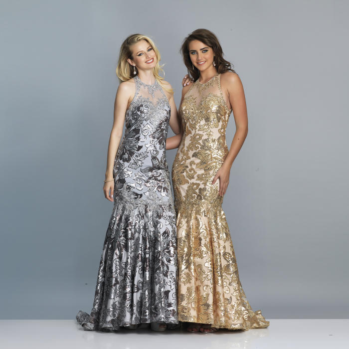 Dave and Johnny - Metallic Embroidered Fit & Flare Illusion Gown