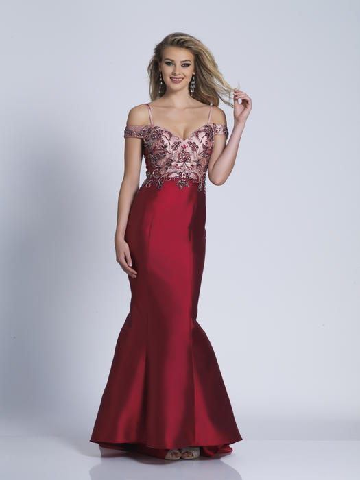 Dave and Johnny - Beaded Satin Sweetheart Fit & Flare Gown