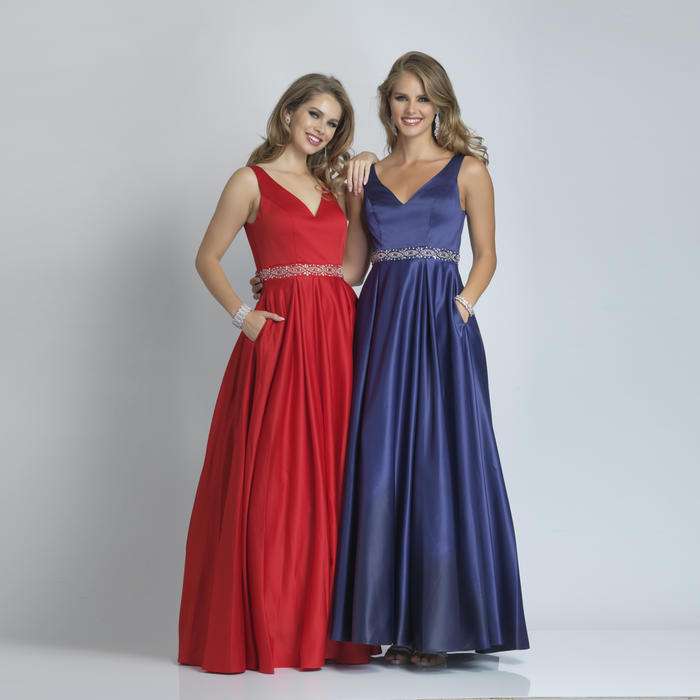 Dave and Johnny - Satin Beaded Waist Gown