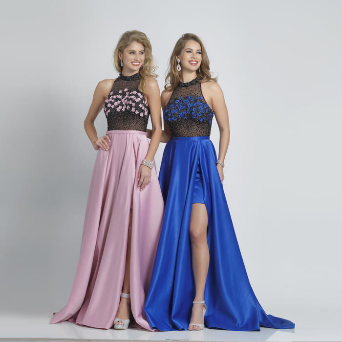 Dave and Johnny - Embellished Satin Flyaway Gown