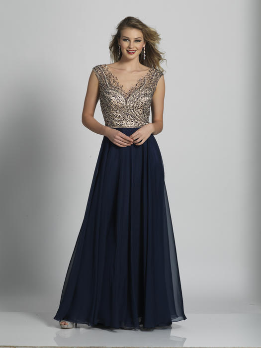 Dave and Johnny - Beaded Chiffon Illusion Gown