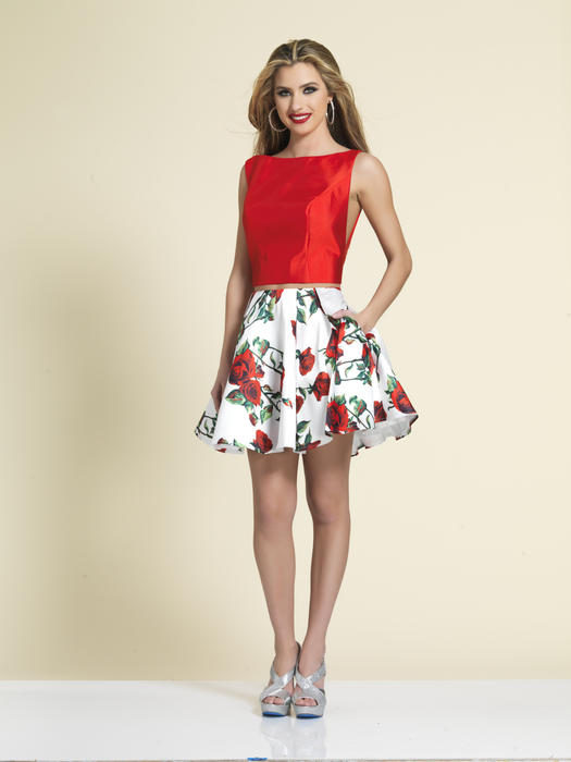 Dave and Johnny - Satin Rose Print Two-Piece Dress