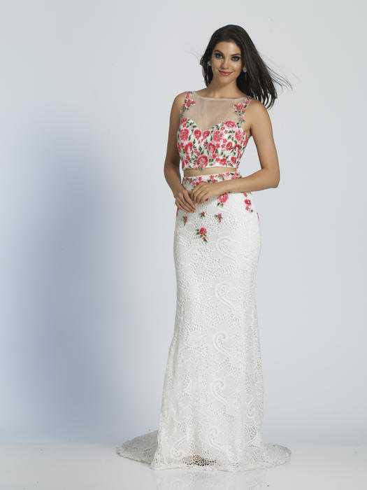 Dave and Johnny - Floral Embroidered Two-Piece Gown