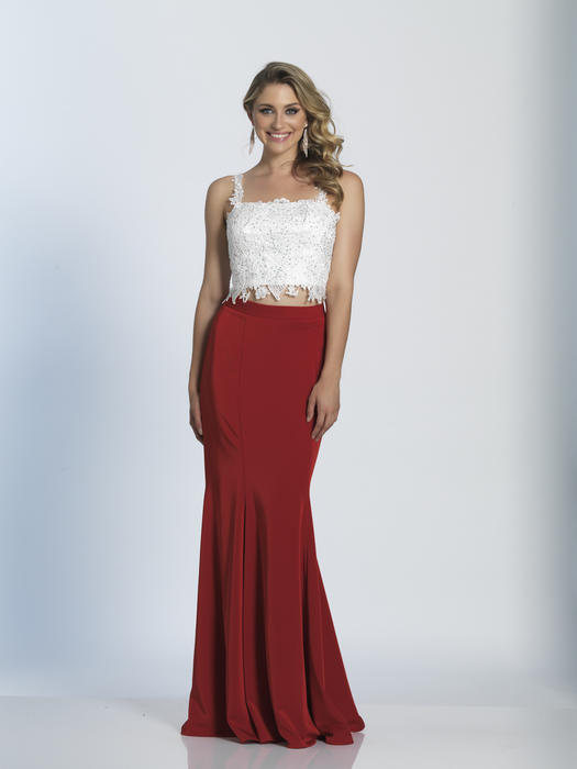 Dave and Johnny - Beaded Two-Piece Lace Jersey Gown