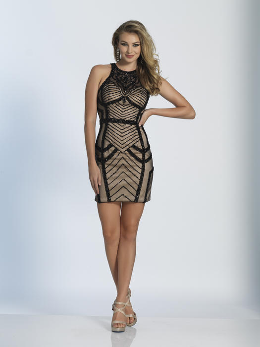Dave and Johnny - Short Mesh Open Back Dress