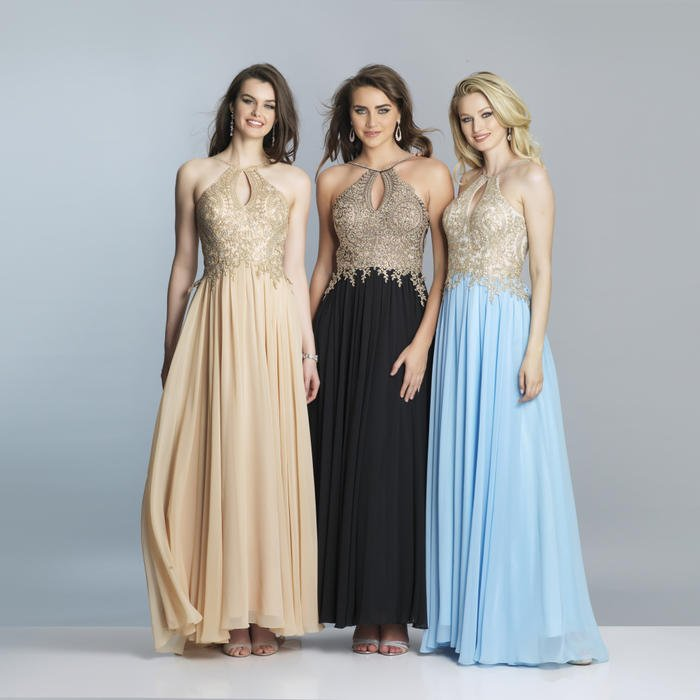 Dave and Johnny - Embroidered Halter Neck Chiffon Gown