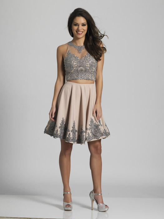 Dave and Johnny - Short Embroidered Two-Piece Illusion Dress