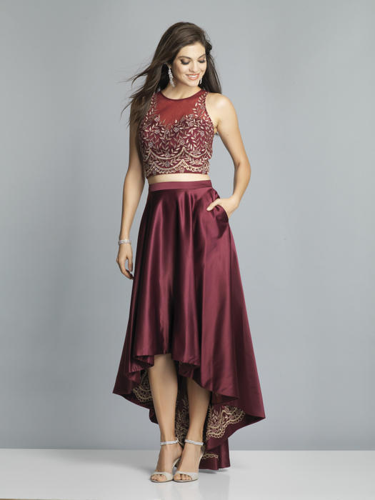Dave and Johnny - Two Piece Satin Skirt Embroidered Top