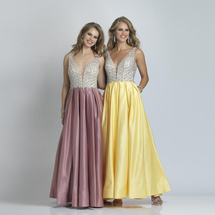 Dave and Johnny - Satin Beaded Bodice Gown