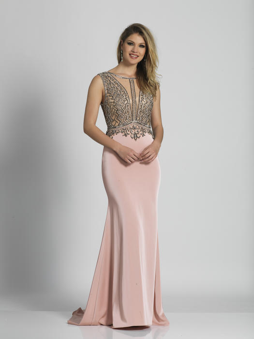 Dave and Johnny - Beaded Bodice Stretch Satin Gown