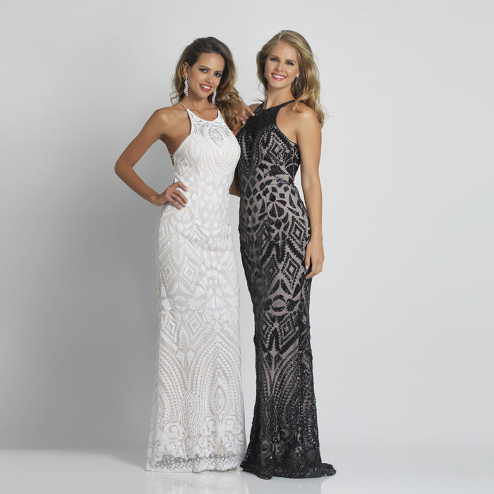 Dave and Johnny - Mesh Sequin Halter Neck Open Back Gown