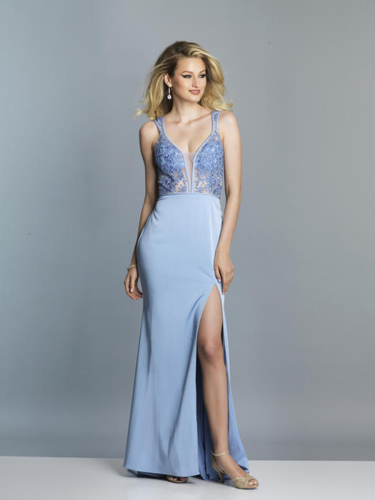 Dave and Johnny - Lace Bodice Satin Gown