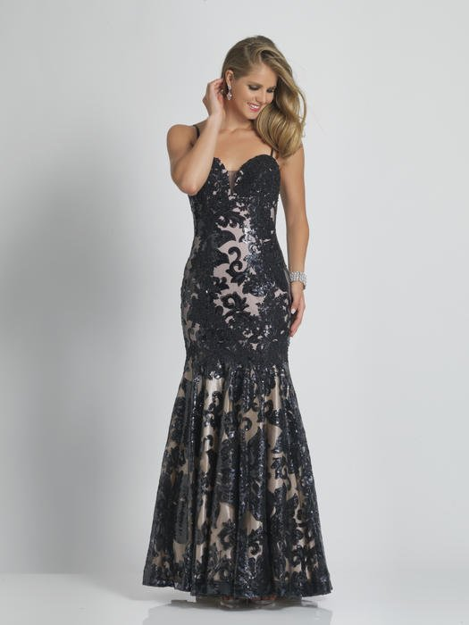 Dave and Johnny - Spaghetti Strap Embroidered Gown