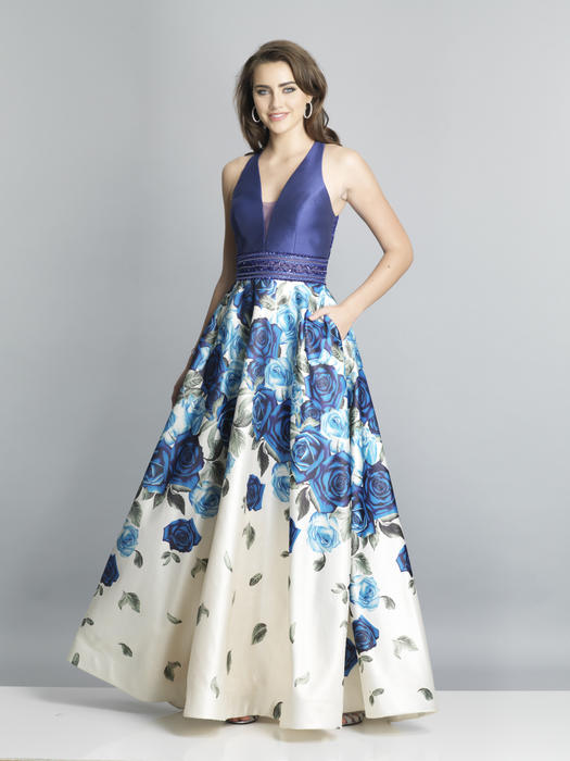 Dave and Johnny - Satin Floral Beaded Bodice Gown